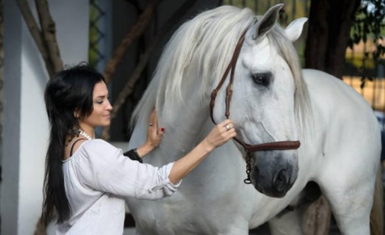 Девушка с белой лошадью