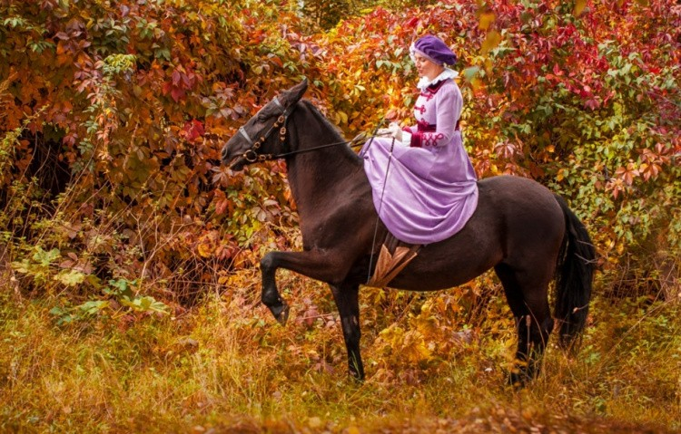Дамская езда на лошади